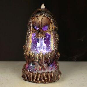 Skull Crystal Cave LED Backflow Incense Burner Gift