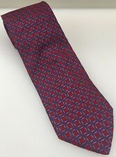 "Hugo Boss Red Blue Squares 100% Italian Silk Necktie Tie Italy Made 60.5"" x 3.5"""