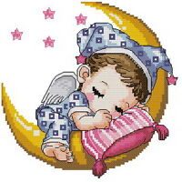 14 count aida needlepoint cross stitch baby kit with colorful chart KP005