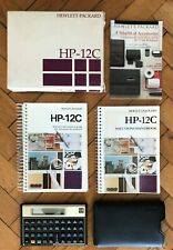 Gold Hewlett Packard HP 12c Financial Calculator ,+ solutions handbook used Nice