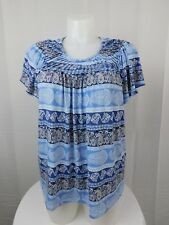 Style & Co Plus Size Short Sleeve Pleat-Neck Mixed-Print Top 3X Blue #6461