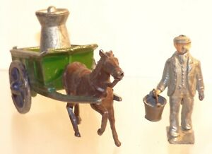 FA18 Charbens pre WW2 lead pony and cart with coster, and Hill churn