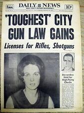 <1967 newspaper NEW YORK CITY DEBATES TOUGHEST GUN LAWS IN NATION Rifle Shotgun