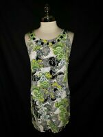 NEW STYLE & CO. Size L Tunic Top Black Green Paisley Ruffle Beads Sleeveless