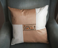 Embroidery Patchwork Cushion Cover Throw Pillow Case 45x45CM Saddle Brown