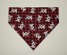 WHITE/GREY DOG ON RED/BLACK BUFFALO PLAID DOG SCARF/BANDANA--S, M, L