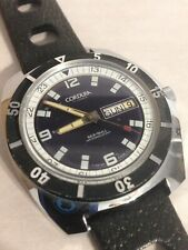 Vintage Cordura Sea-Gull automatic 17 jewel diver watch day/date Swiss Runs