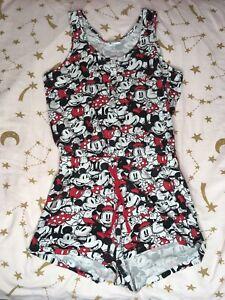 Womens Disney Mickey And Minnie Pyjama Playsuit Size 8-10