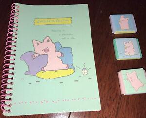 Vintage Sanrio 1989 Zashikibuta Eraser Set Of 3, New; Notebook Pink Pig