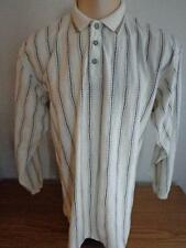 GREG NORMAN XL Long Sleeve Polo / Golf Shirt Ivory Tan & Black Striped