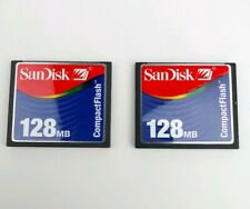 San Disk 128MB Compact Flash Memory Card w/Case Lot of 2