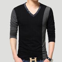 NEW Men's Stitching Casual T-shirt Long Sleeve Slim V Neck Tee Shirts Dress Tops
