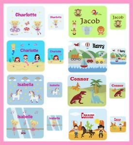 Personalised Children's Kids Printed Hardboard Placemat & Coaster Set Any Name