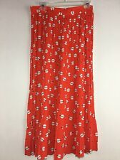 Chaus Polka Dot Red Orange Pleated  Skirt