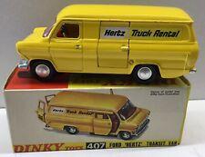 "Dinky Toys 407 FORD TRANSIT VAN ""HERTZ"" EXCELLENT MODEL & ORIGINAL BOX ."