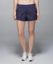 LULULEMON Size 6 Tracker Short Pretty Palm Cadet Blue Run Gym Shorts