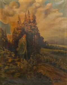 Antique 20th Century Signed Oil Canvas Painting Man Portrait Forest Old Master