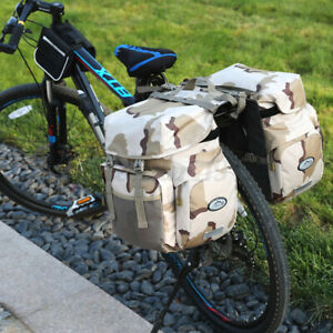 50L Canvas & PU Leather Motorcycle Motorbike Bicycle Pannier Side Bags Saddlebag