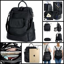 Women Backpack Purse Washed Leather Ladies Rucksack Shoulder Bag Large Black New