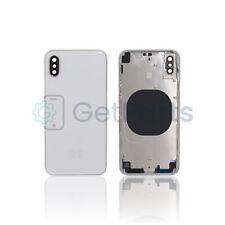 Backcover Frame passend für Apple iPhone X Weiß Silber Glas Gehäuse Rahmen