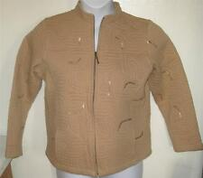 Laura Ashley misses sz PM petite Medium tan zip up  jacket with sequins j113