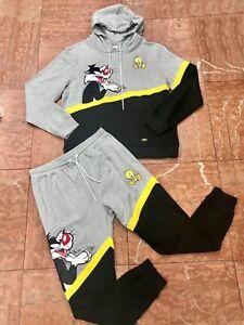 Men's Grey | Yellow | Black Looney Tunes Sylvester & Tweety Sweatpants & Hoodie