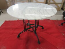 NEW Outdoor (or Indoor) Round White MARBLE top Dining Table - 100cm wide Seat 6