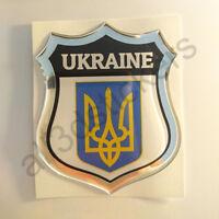 Pegatina Ucrania Escudo de Armas 3D Emblema Vinilo Adhesivo Resina Relieve Coche