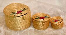 Set/3 Collectible Nesting Small Miniature Mini Woven Wicker Basket Lid