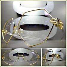 VINTAGE RETRO Style Clear Lens EYE GLASSES Unique Gold Transparent Fashion Frame