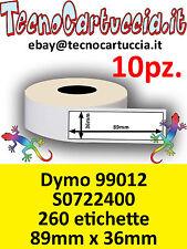 10 X Rotoli Etichette Compatibili per Dymo 99012 89 mm x 36 mm Label Writer Dimo