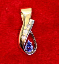 Beautiful 14K Gold .56 Ct Pear Shaped Tanzanite & Diamond Slide Pendant