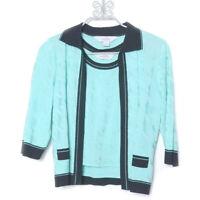 Ming Wang Mint Green Black Trim 3/4 Sleeve Acrylic Sweater Set Small