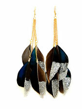 Dipped in Silver Sparkles Glitter Black Grey Feather Dangle Earrings UK
