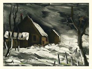 "Maurice Vlaminck lithograph by Mourlot ""La Maladrerie under Snow"""