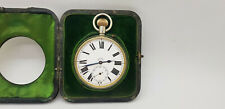 ANTIQUE LARGE GOLIATH 8 DAYS POCKET WATCH WITH SOLID SILVER CASE 65 MM.