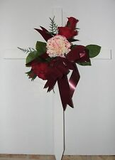 Silk Red Rose Cross Memorial Sympathy Cascading Ribbon Flower Wreath Cemetery