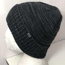 Brickley + Mitchell Cuffed Marlbed Knit Logo Tab Beanie Black Gray