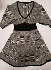 Bcbg Max Azria Womens Size M Black and White Striped Geometric Dress Silk Cotton