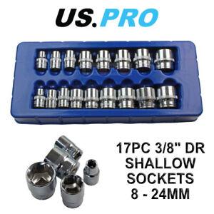 US PRO Tools 17pc 3/8 dr Shallow Sockets Set, Socket 6 Point 8-24mm 1376