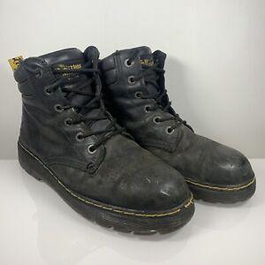 Dr Martens Steel Toe Safety Shoes Size UK 9 EU 43 Black Leather Work Boots