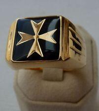baádo en oro amarillo cruz de malta cuadrado anillo negro sólido esmalte