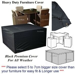TOP QUALITY GARDEN FURNITURE WATERPROOF COVER RATTAN SQUARE CUBE 4 SEATER COVER
