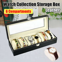 6 Slot Watch Box Top Glass & Leather Display Case Organizer Jewelry Storage Gift