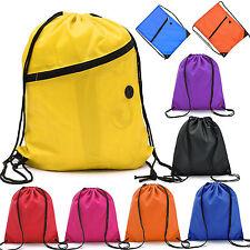 Waterproof String Drawstring Back Pack Sack Gym Tote Bag School Sport Shoe Bag