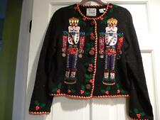 Christmas Sweater Simon Women Medium Nutcracker M Vtg Not Ugly Braid Sequin EUC