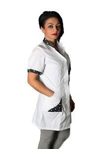 Camice da lavoro donna con BOTTONI A PRESSIONE Estetista Parrucchiera SLIM-FIT