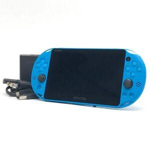 "SONY PS Vita PCH-2000 Slim Aqua Blue Wi-Fi LCD FW:3.65 w/ Charger ""Excellent"""