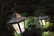 2 X Luces solares del jardín entrenador Linterna con pastores Ganchos Crooks