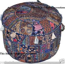 "Indian Pouffe Foot Stool Patchwork Poufs 22"" Bohemian Pouf Ottoman Ethnic Decor"